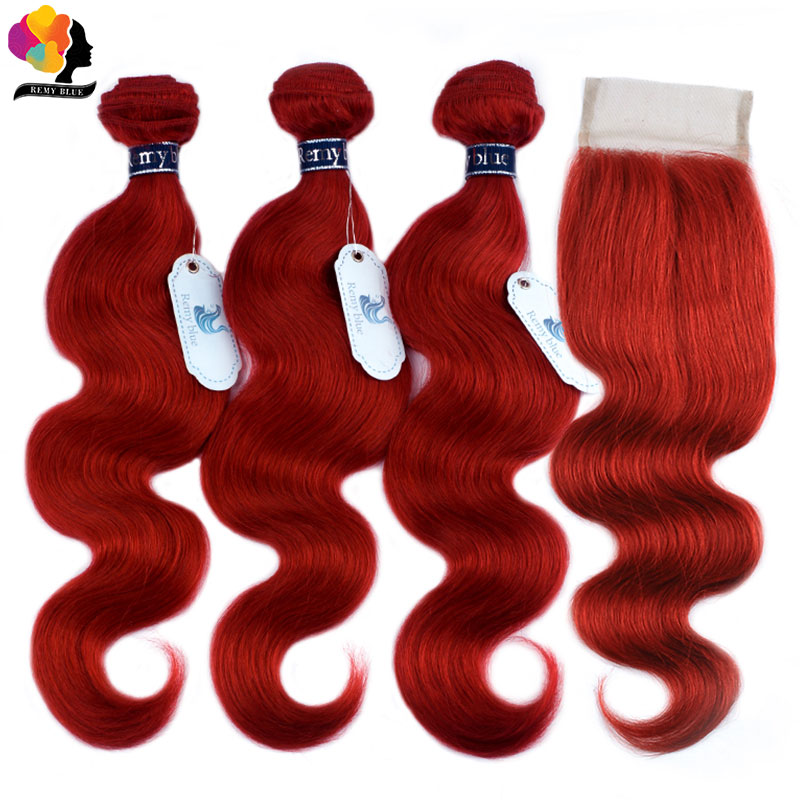 Red Bundles With Closure Burgundy 99J Colored Body Wave Bundles With Closure Brazilian Human Hair Bundle