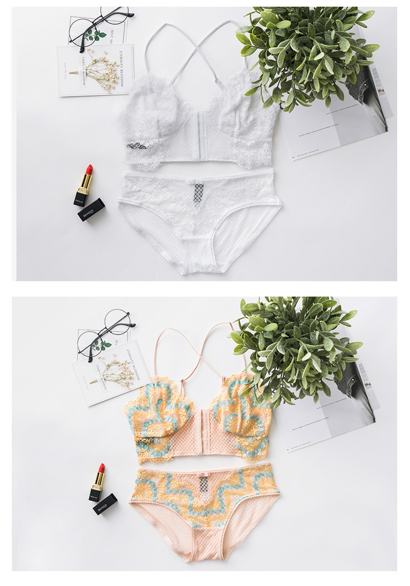 dd1dd9125a France Transparent Sexy Ladies Y Strap Underwear Front Closure 6 Breasted  Ultra Thin Women Bra And Panty Set Wire Free Intimates