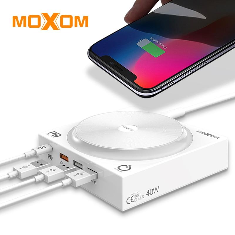 MOXOM Sans Fil chargeur pour iphone 8 Xs Max XR Samsung S9 Note9 ROYAUME-UNI de L'UE US Plug adaptateur secteur led 5 Dans 1 station de charge sans fil