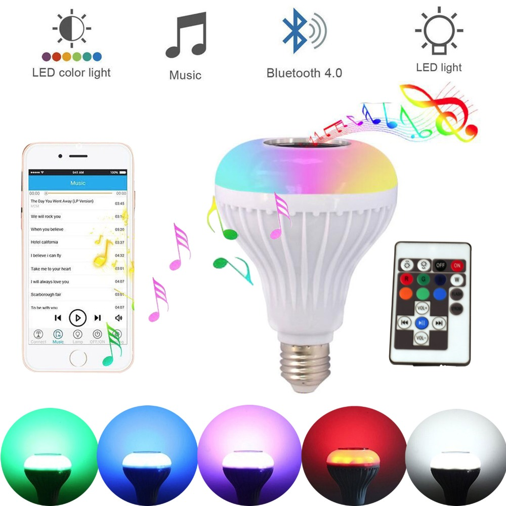 E27 Light Bulb Intelligent Colorful LED Lamp Bluetooth Bulb Music Playing Dimmable RGB LED Lamp with Remote Control