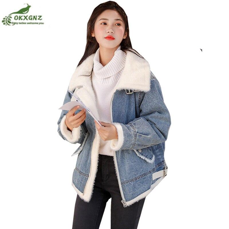 Autumn Winter New 2019 Women lambswool jean Coat Korean Long Sleeves Denim warm Jeans Coat Outwear