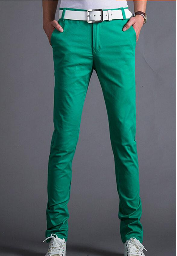 2018 new spring and summer candy color men s casual pants solid color slim feet pants