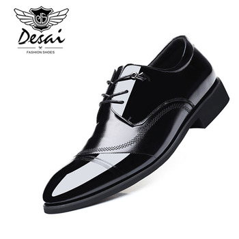 DESAI Brand Genuine Leather Formal Shoes Man Business Soft Bottom Men Shoes Pointed Top Shoes Fashion Wedding Shoe Spring New