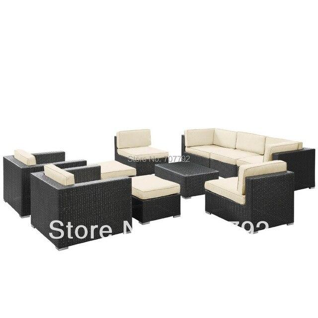 LexMod Avia Outdoor Wicker Patio 10 Piece Sectional Sofa Set in ...