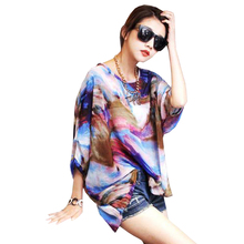 FGirl Women's t Shirt Crop Top Abstract Painting Batwing Sleeve Pullover T-shirts for Women FG30537