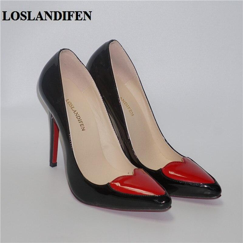Для женщин Туфли-лодочки Туфли с красным верхом красное сердце Форма сладкие дамы насосы сандалии женский, черный белые женские ботинки Бол...