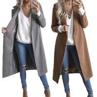 Fashion Women Winter Warm Wool Lapel Trench Coat Jacket Winter Long Overcoat Outwear Wool Blends Coat