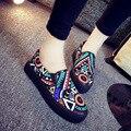 Slipony Muchacha de Las Mujeres de Lona 2016 Nuevo Calzado Resbalón En los Zapatos Ocasionales de la Plataforma Femenina Otoño Graffiti Punta Redonda Pisos Holgazán