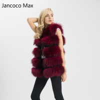 7 Colours Real Fur Vest Women Genuine Raccoon Fur Gilet Long Waistcoat Winter New Fashion Coat