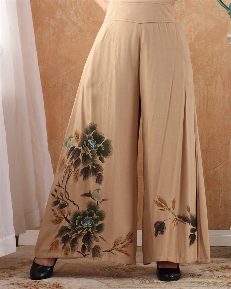 High Quality Khaki Chinese Traditional Style Women Elegant Elastic Band   Capris   Print Wide-legged   pants   Size M L XL XXL