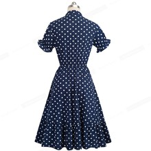 Nice-forever Retro Vintage Polka Dots Pinup Puff Sleeve vestidos Business Party Female Flare Swing Women A-Line Dress A141