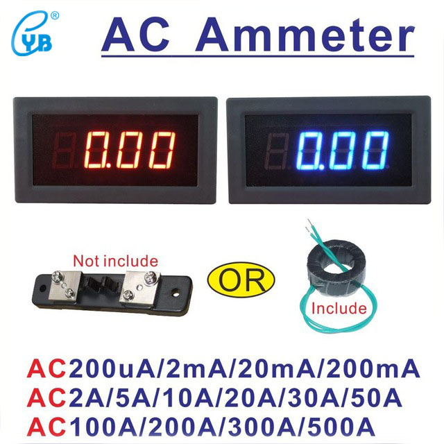 Tools Electrical Instruments Honey Yb5135b Ac Current Meter Led Digital Ampere Meter 20ma 200ma 2a 10a 50a 100a 200a 300a 500a Micro Ammeter Amp Panel Meter 3 1/2 To Suit The PeopleS Convenience