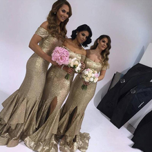 цена на Sexy Gold Sequins Bridesmaid Dresses Off Shoulder with Capped Sleeves Zipper Back Long Slit Maid of Honor Bridesmaids Dress