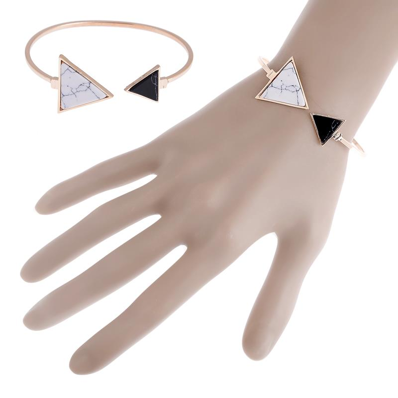 Women Fashion Jewelry New Punk Trendy White Black Triangle Marbleized Stone Cuff Bangle Bracelet