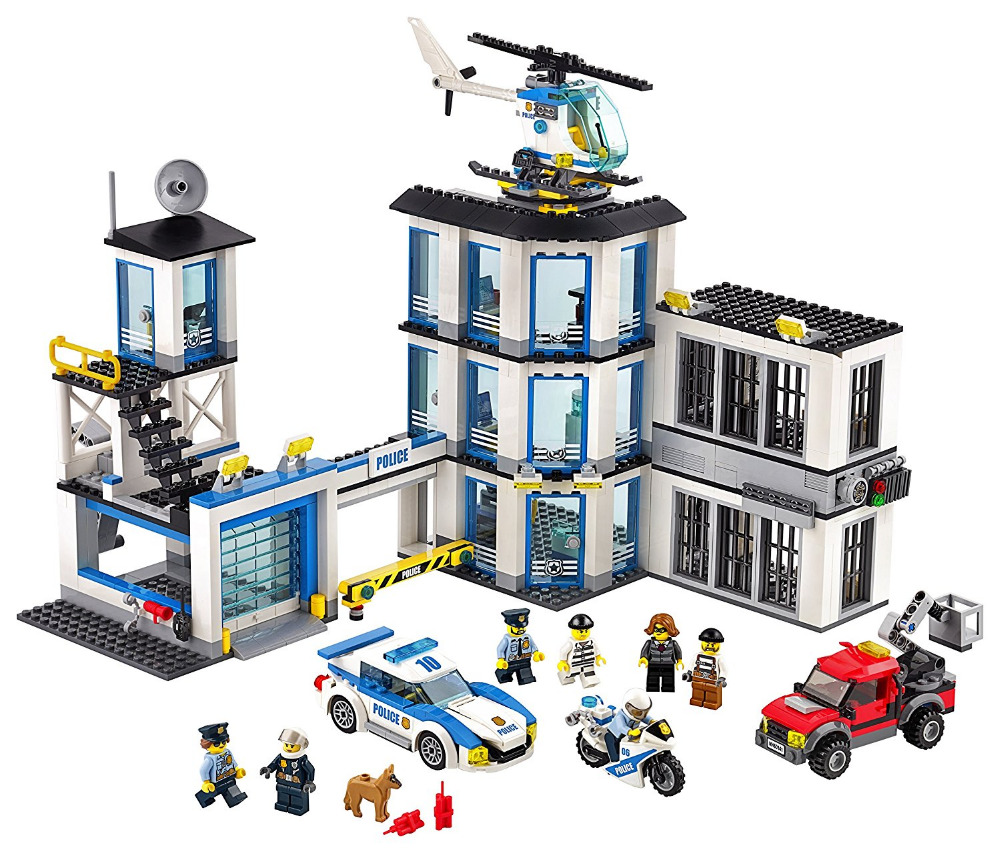 LEPIN City Police Station Building Blocks Sets Bricks Kids Model Kids Toys Marvel Compatible Legoings mini jurassic world park fossil triceratops raptor skeleton building blocks sets bricks kids model kids creator toys marvel city