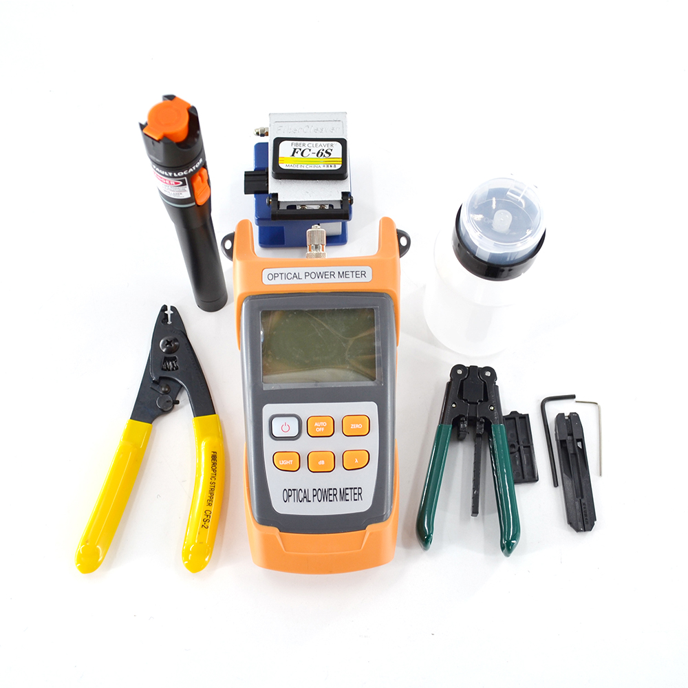 11 IN 1 Fiber Optic FTTH Tool Kit With FC-6S Fiber Cleaver And Optical Power Meter 1MW VFL Wire Stripper CFS-2