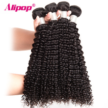 [ALIPOP] Peruvian Kinky Curly Hair Bundles Remy Human Hair Bundles 10″-28″ Double Weft Hair Extension 1PC Hair Weave Can Be Dyed