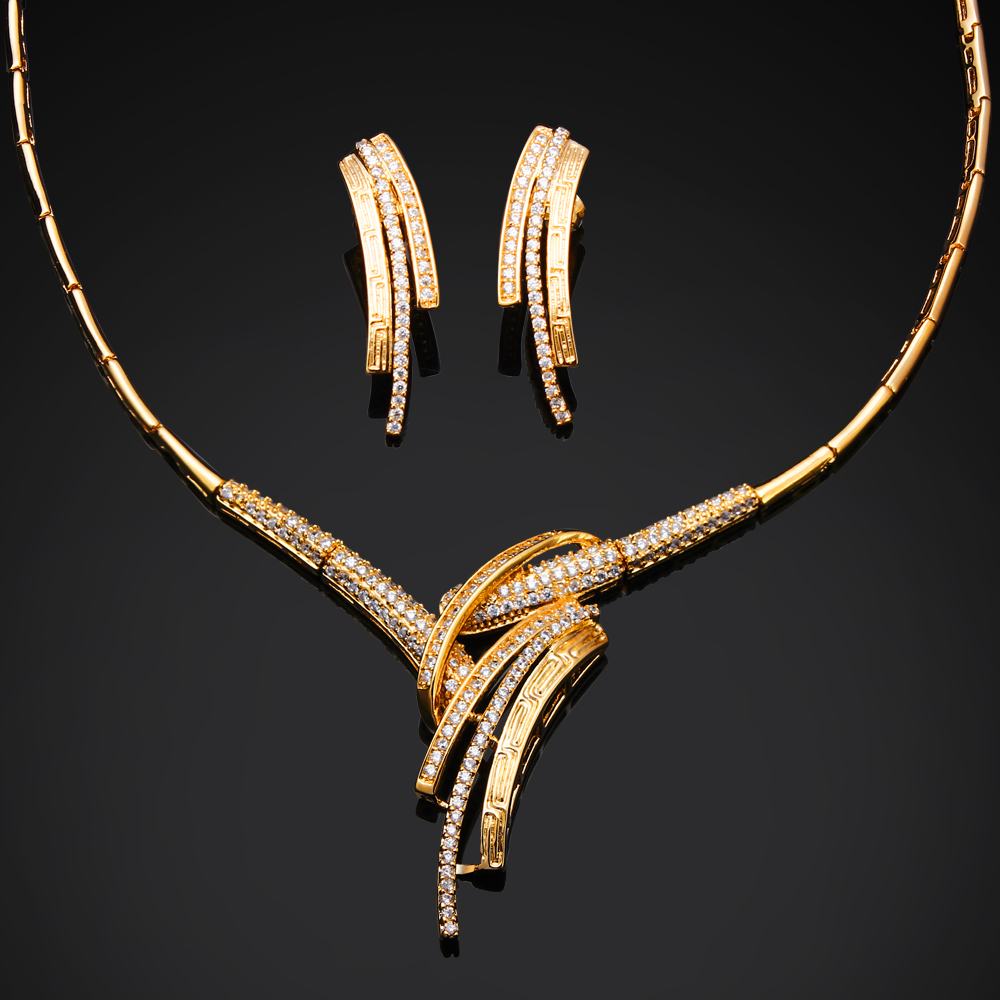 Cz Necklace Earrings Set Setting With Cubic Zirconia Gold And White Color  African Jewelry Set