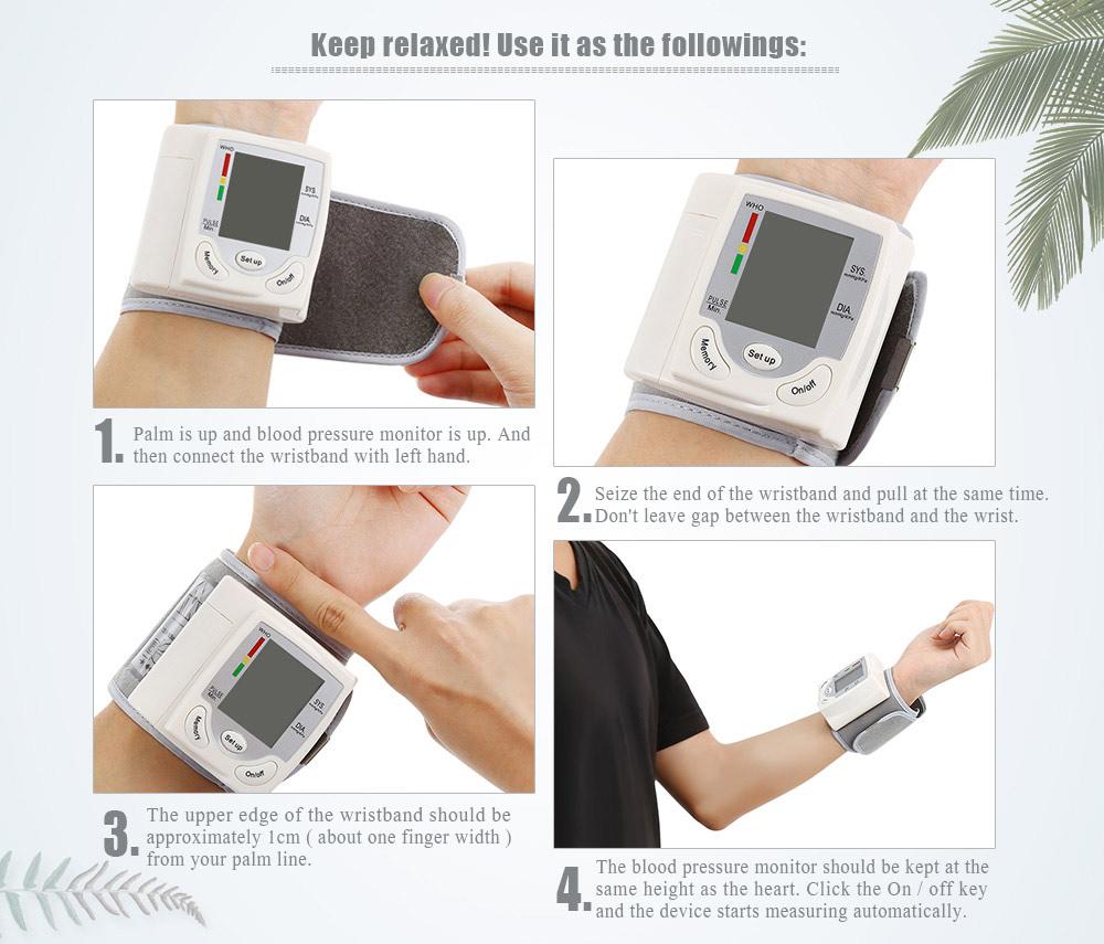 Health Care Automatic Digital Wrist Cuff Blood Pressure Monitor Heart Beat Rate Arm Pulse Meter Machine Tonometer For Measuring 10
