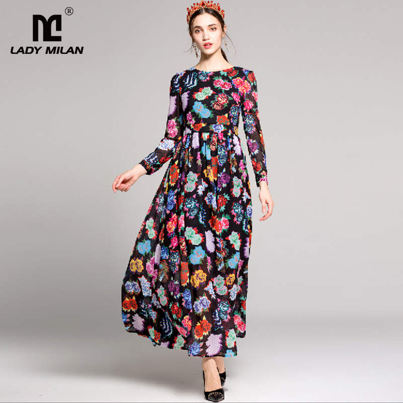 New Arrival 2018 Womens O Neck Long Sleeves Beaded Floral Printed Elegant Long Designer Casual Dresses