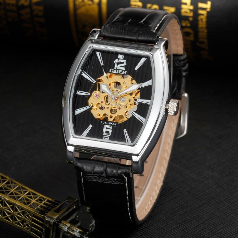 GOER Mannen Tonneau automatische self-wind mechanische horloges heren - Herenhorloges