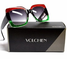 VOLCHIEN Oversized Square Colorful Stripe Shiny Sunglasses For Women Lady Fashion Popular Classic Style