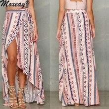 Moxeay, свободная пляжная бандажная юбка в богемном стиле, шифоновая юбка с разрезом спереди, длинная юбка с завышенной талией, с цветочным принтом, купальник макси