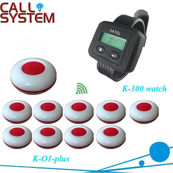 Официант системы для обслуживания вызовов 1 наручные часы пейджер с 10 шт. кнопка для бар, Кафе домашнего использования бесплатная доставка