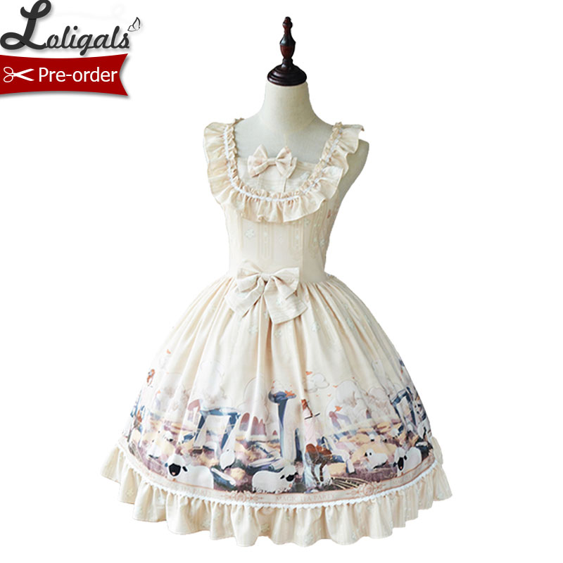 Afternoon of the Herdsman Sweet Printed Casual Lolita Dress by Magic Tea Party Pre order