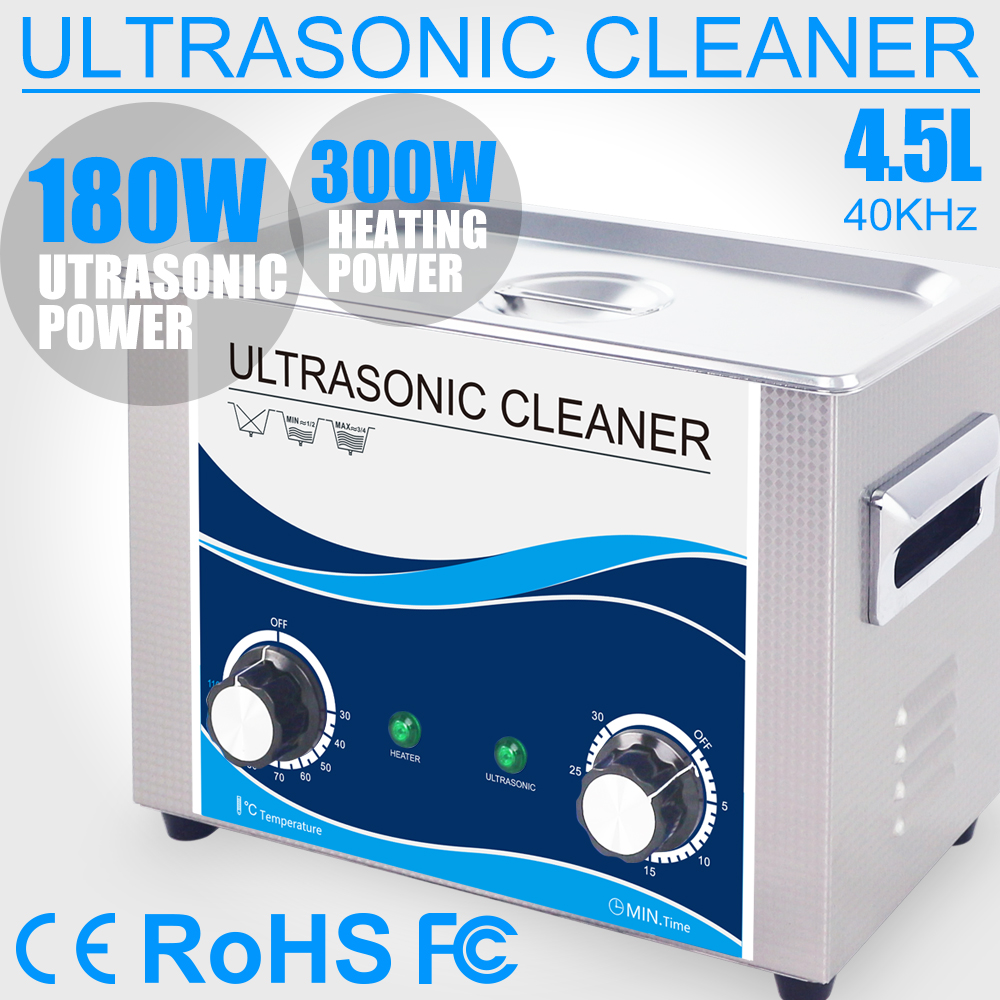 4.5L Ultrasonic Cleaner Bath 180W 40KHZ Timer Heater Ultrasonido Home Parts Jewelry Glasses Coins Dental Tools Cleaning glasses cleaner jewelry 2l stainless bath 60w ultrasonic cleaner 40khz timer setting 1 30mins home washer dental brushes
