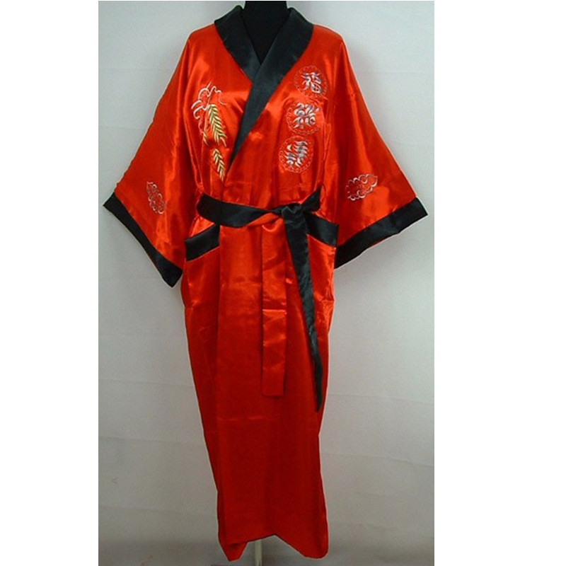 Novelty Reversible Red Black Mens Satin Polyester Robe Two-Face Embroidery Sleepwear Bathrobe Night Gown One Size  ZR29