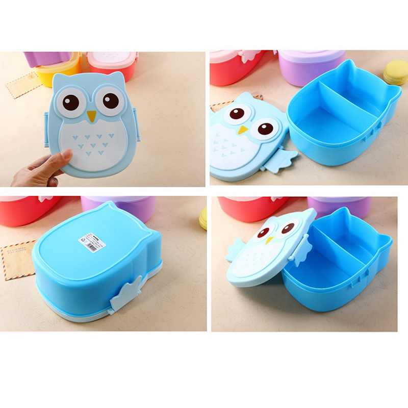 1Pcs Portble Plastic Kids Cute Owl Food Container Lunch Box PP Food Storage Box Portable Purple Pink and Blue 15.5x14x6.6cm