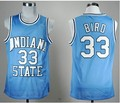 MOHEKANN Mens Indiana State Sycamores Larry Bird #33 Azul Basketball Jerseys Bordado Logos Novos Materiais Com Duplo Stitchin