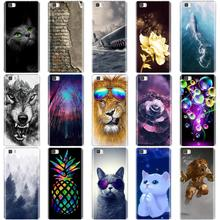 цена на For Coque Huawei P8 Lite 2016 5.0'' Case Silicone TPU Cover 3D Cat Bag For Huawei Ascend P8 Lite 2015 P8Lite ALE-L21 Phone Cases