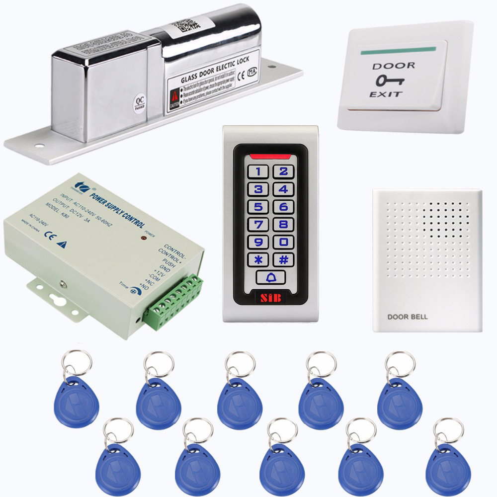 SIB Keypad RFID 125Khz EM Card Access Control System Kit Electric Door Lock+Power Supply Control+Doorbell+10pcs RFID Card F1215D free ship by dhl access control kit one em keypad access control power magnetic lock u bracket button 10 em card sn em 008