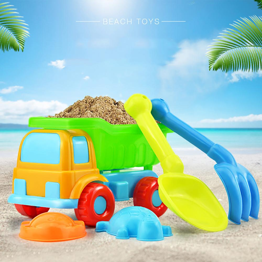 Free Shipping 5Pcs/Set Kids Beach Truck Shovel Rake Animal Molds Kit Garden Sandpit Pool Storage Toy Collection Sand Away Beach