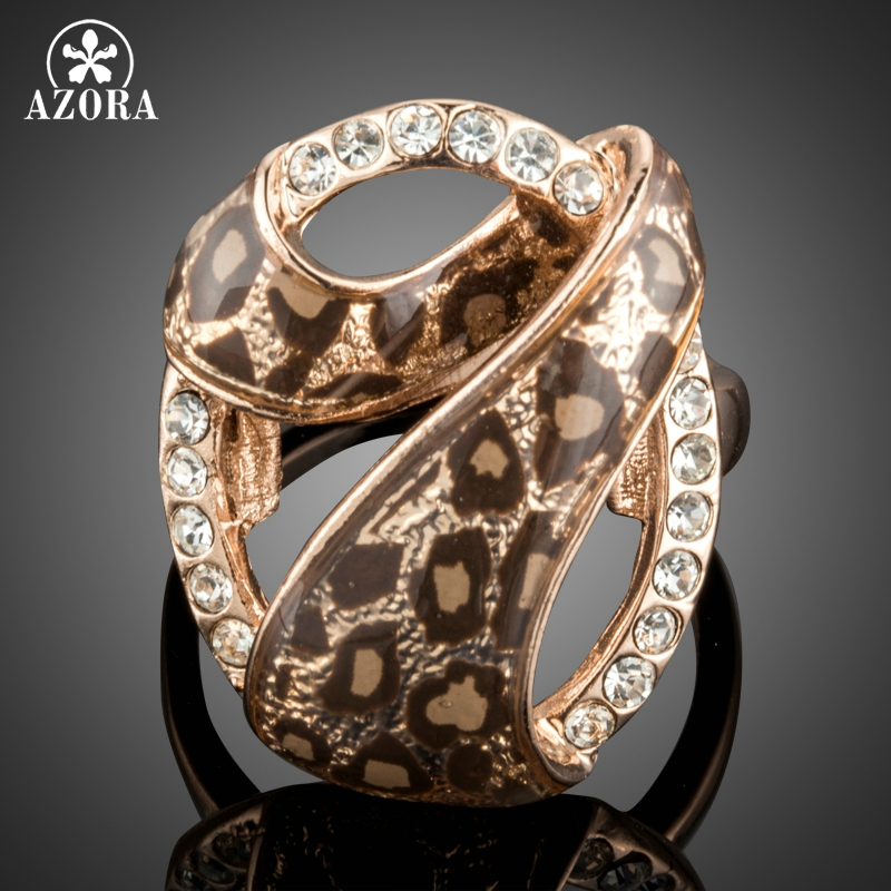AZORA Individuality Rose Gold Color 7 Design with Austrian Cystal Leopard Rings TR0163 longline high neck tee with leopard insert page 7