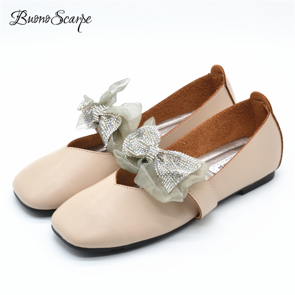 Buono Scarpe Actual Leather-based Comfy Butterfly Knot Flats Bling Bling Knot Informal Flat Footwear Girls Flat Loafers Sq. ToeFlat Girls's Flats, Low cost Girls's Flats, Buono Scarpe Actual Leather-based...