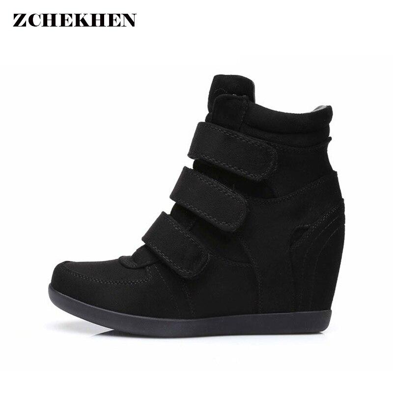 Женские ботинки на весну замшевые Ботинки на платформе и танкетке Скрытая каблуке High Top Sneaker повседневная обувь для женщин