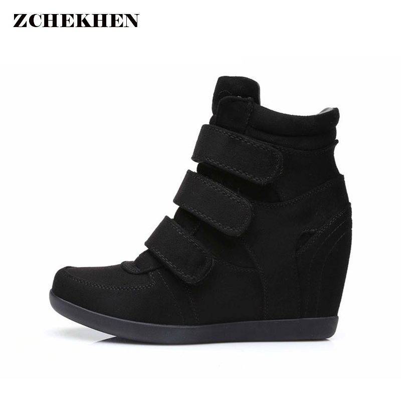 Spring Women Boots faux suede Leather Wedges Platform Boots Hidden Heel Shoes High Top Sneaker  Casual Shoes For WomanSpring Women Boots faux suede Leather Wedges Platform Boots Hidden Heel Shoes High Top Sneaker  Casual Shoes For Woman