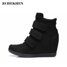 Spring Women Boots faux suede Leather Wedges Platform Boots Hidden Heel Shoes High Top Sneaker Casual Shoes For Woman(China)