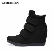 Spring Women Boots faux suede Leather Wedges Platform Boots Hidden Heel Shoes High Top Sneaker Casual Shoes For Woman