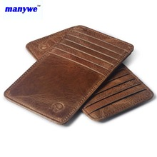 Manywe genuine leather slim business credit card case thin small holder wallet with 12 slots