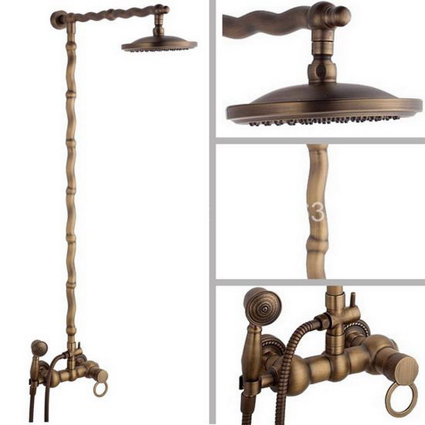 цена на Vintage Retro Antique Brass Wall Mounted Bathroom 8 Inch Round Rainfall Rain Shower Faucet Set Single Handles Mixer Tap aan050