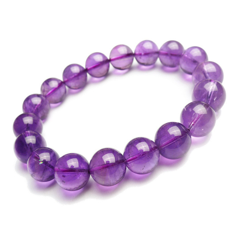 Women Female 12mm Genuine Natural Purple Quartz Crystal Stretch Transparent Loose Round Bead Bracelet fashion round crystal dial quartz bracelet watch for women purple silver 1 x lr626