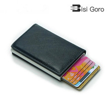 BISI GORO 2019 Wallet Card Holder Hasp RFID Aluminum Unisex Metal High Quality Mini Crazy Horse PU Leather