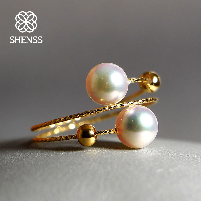 SHENSS élégant qualité Akoya perle anneau pour les femmes réel 18 anneaux en or Akoya01