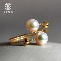 SHENSS Elegant Quality Akoya Pearl Ring For Women Real 18 Gold Rings Akoya01