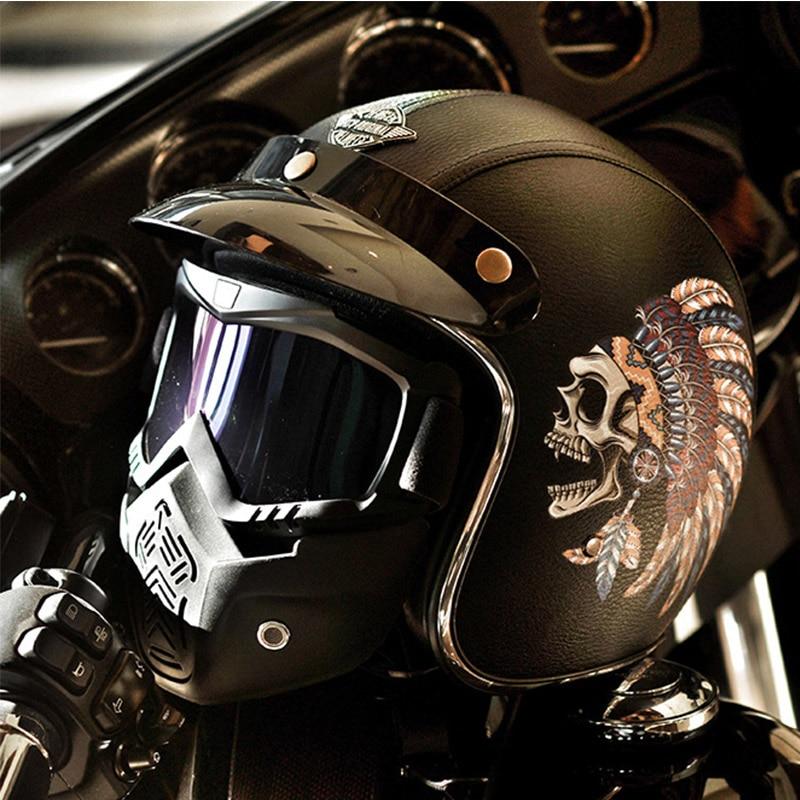 VCOROS череп маска из искусственной кожи moto rcycle шлемы Винтаж 3/4 открытый лицо Ретро шлем, закрывающий половину лица головной убор для езды на скутере moto Dot утвержден - 5