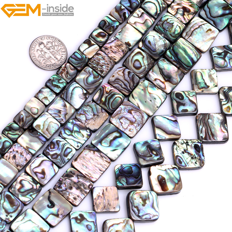 Gem-inside Natural Flat Square Abalone Beads For Jewelry Making Mix Color 8-14mm 15inches DIY Jewellery